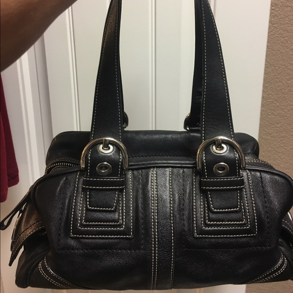 Coach Handbags - Coach Mia Soho Black Leather Medium Satchel Duffle